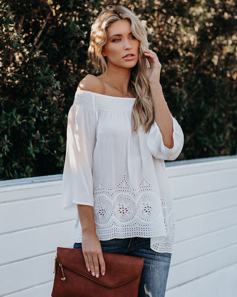 Ulysses Off The Shoulder Eylet Top - Off White
