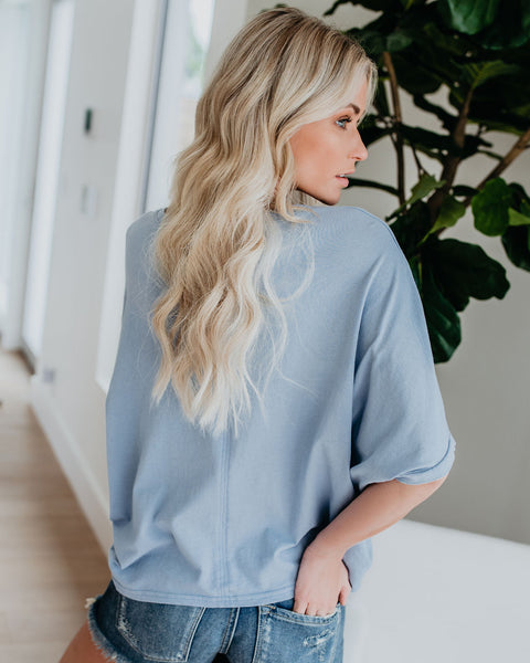 Under My Wing Relaxed Cotton Tee - Paradise Blue