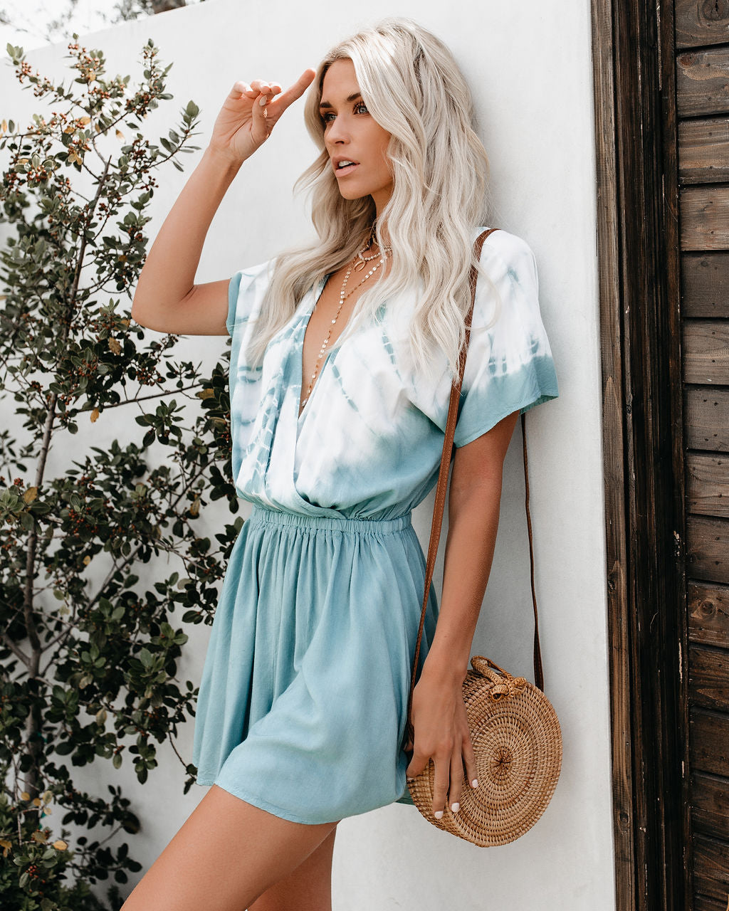 132455f1a3a Under The Sea Tie Dye Pocketed Romper - Sage