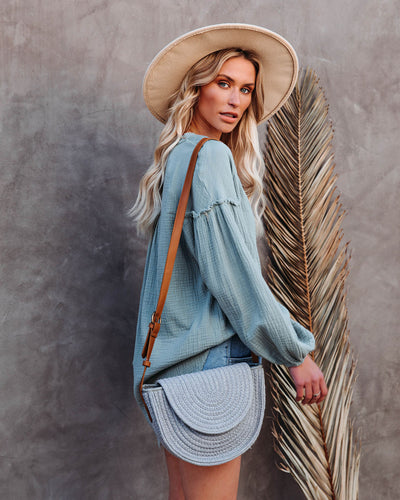 Under The Sun Braided Crossbody Bag - Grey