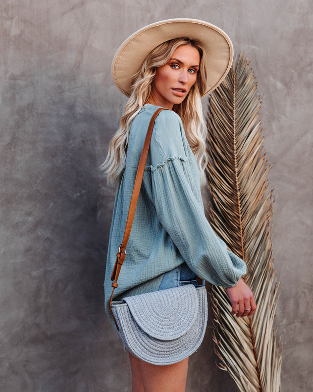 Under The Sun Braided Crossbody Bag - Grey view 3