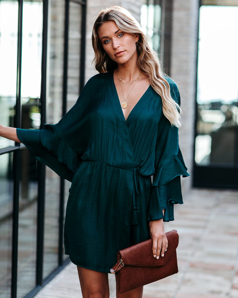 Under The Tree Satin Ruffle Wrap Dress