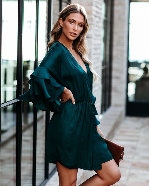 Under The Tree Satin Ruffle Wrap Dress - FINAL SALE