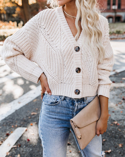 Unity Button Front Crop Knit Cardigan