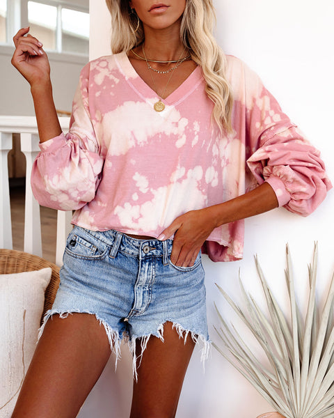 Unsteady Cotton Bleach Dye Cropped Knit Top