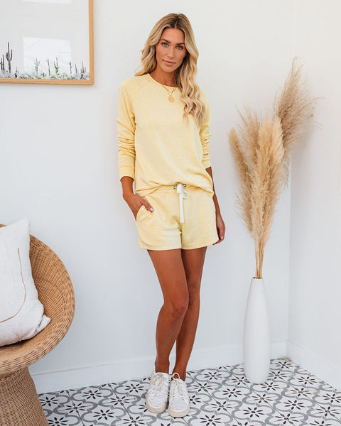 Unwind Pocketed Knit Shorts - Lemon Butter