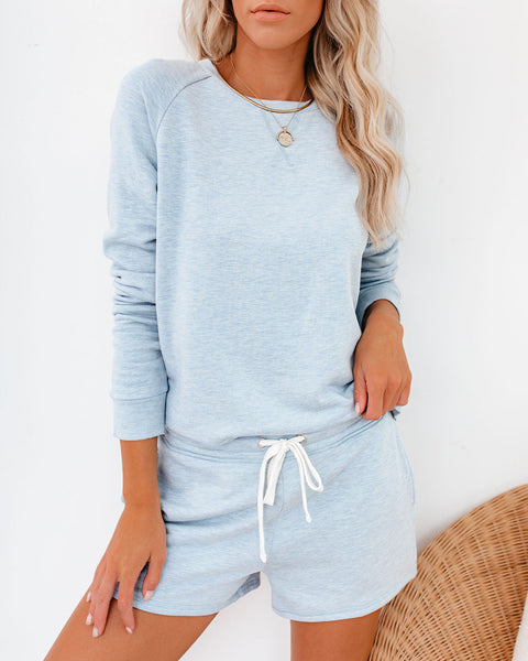 Unwind Pocketed Knit Shorts - Light Blue