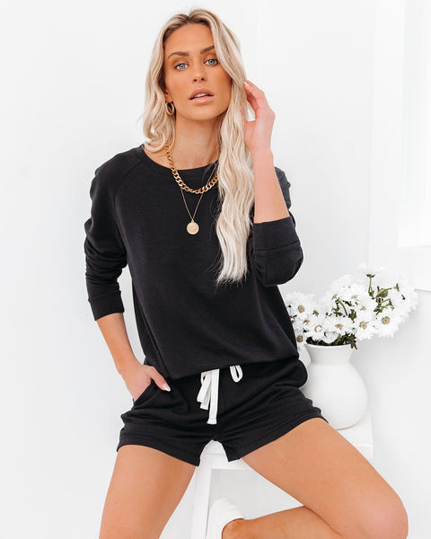 Unwind Knit Raglan Top - Black