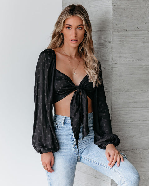 Up All Night Embossed Polka Dot Crop Top