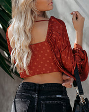 Up All Night Embossed Polka Dot Crop Top - Rust