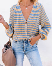 Up And About Striped Button Front Cardigan