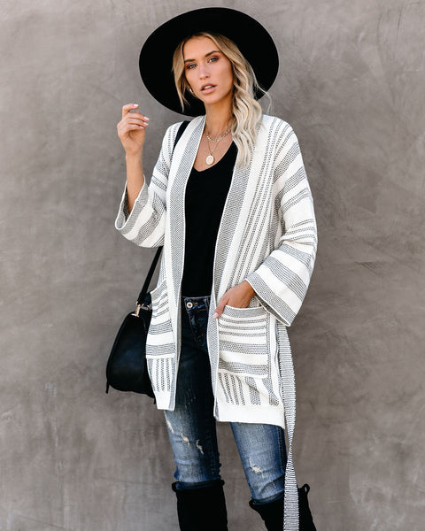 Uphill Striped Pocketed Tie Cardigan - FINAL SALE