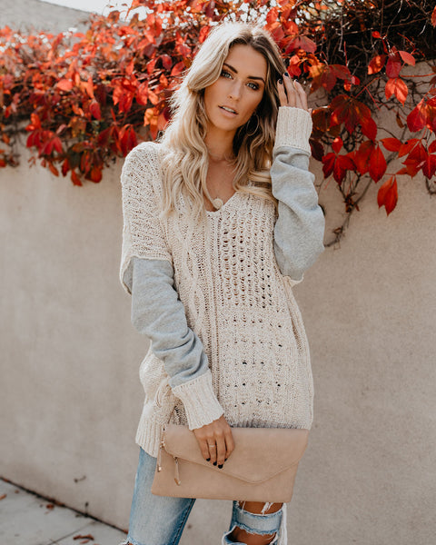 Uplifting Contrast Cotton Cable Knit Sweater