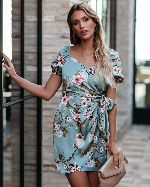 Uplifting Floral Satin Tie Dress - FINAL SALE