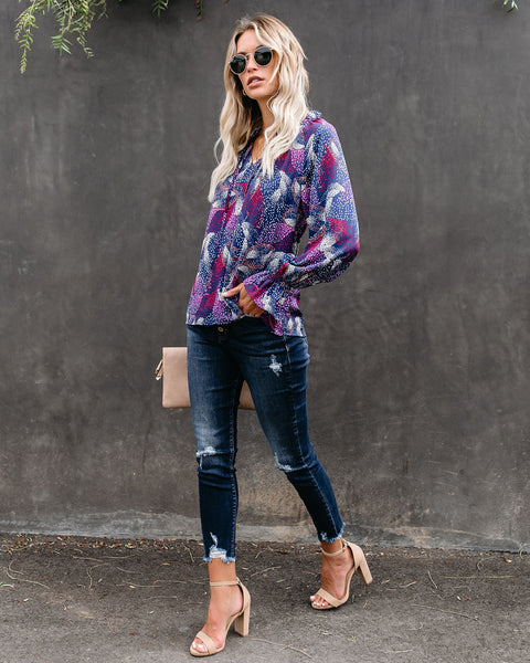 Ups And Downs Printed Blouse - FINAL SALE