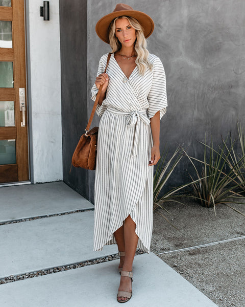 Upside Cotton Blend Striped Kimono Maxi Dress