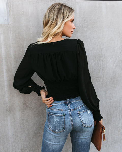 Up To Speed Gathered Blouse - Black - FINAL SALE