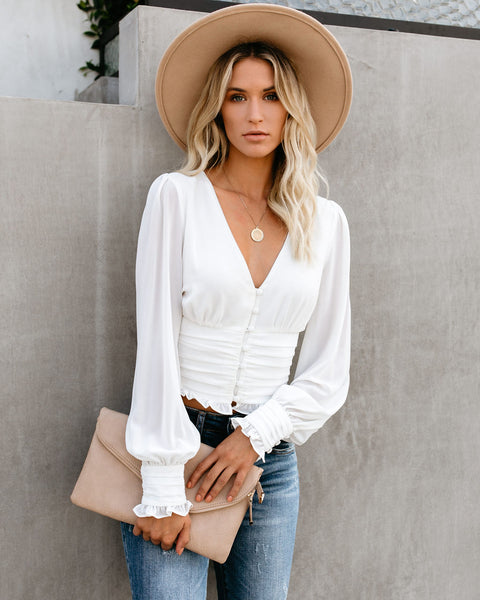 Up To Speed Gathered Blouse - Off White