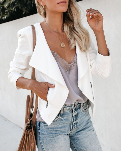 Up To The Task Pocketed Asymm Jacket - Ivory - FLASH SALE