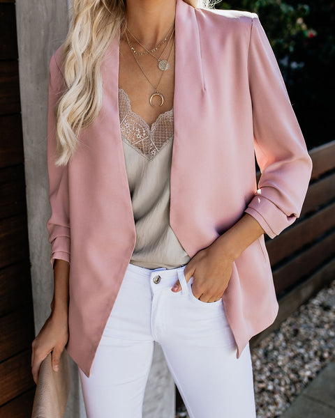 Uptown Girl Pocketed Blazer - Dusty Blush