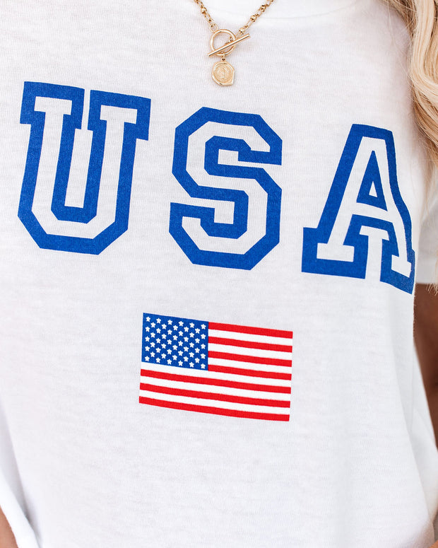 USA Cotton Blend Cropped Tee
