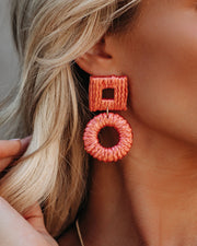 Vacay Woven Statement Earrings - Pink - FINAL SALE