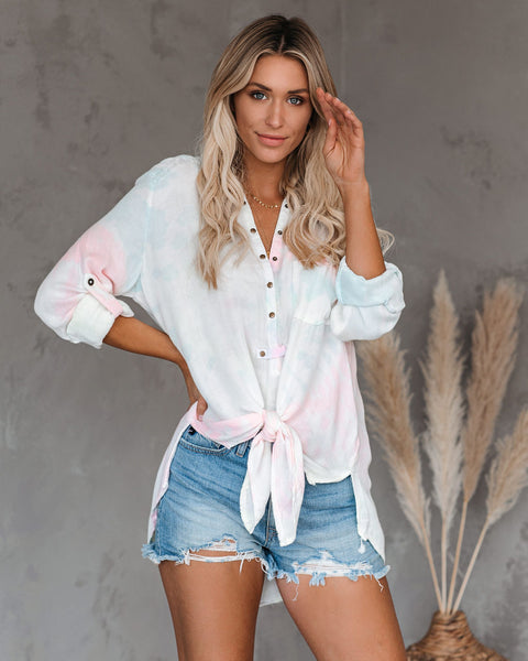 Vagabond Tie Dye Button Down Frayed Tie Top