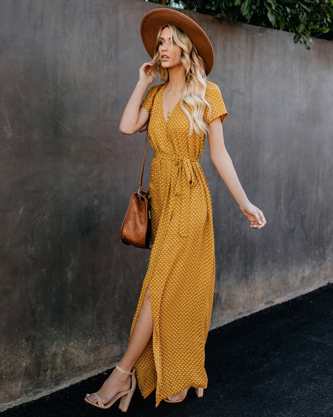 Valley Of The Moon Wrap Maxi Dress - Mustard