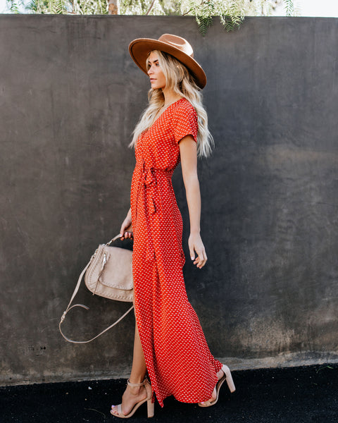 Valley Of The Moon Wrap Maxi Dress - Rust