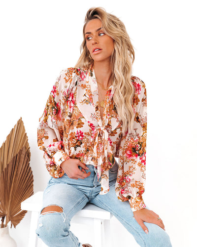 Vanish Floral Button Down Tie Blouse