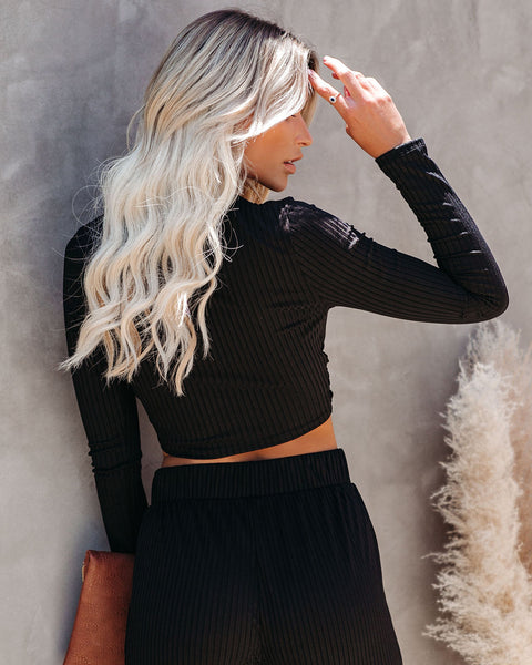 Venice Beach Ribbed Knit Crop Top - Black