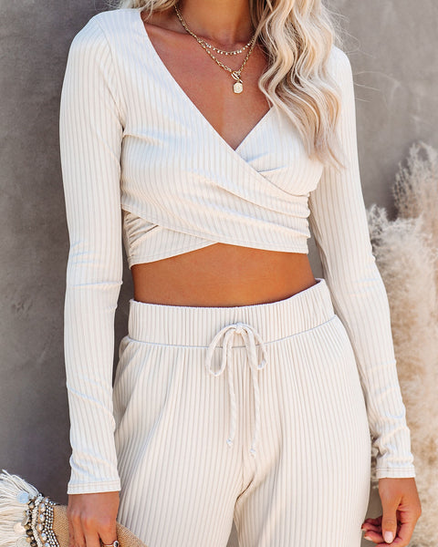 Venice Beach Ribbed Knit Crop Top - Taupe
