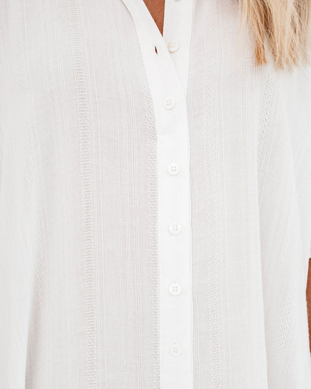 Venture Button Down Cover-Up Dress - Off White