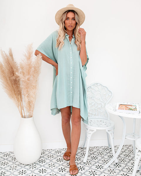 Venture Button Down Cover-Up Dress - Sky Blue