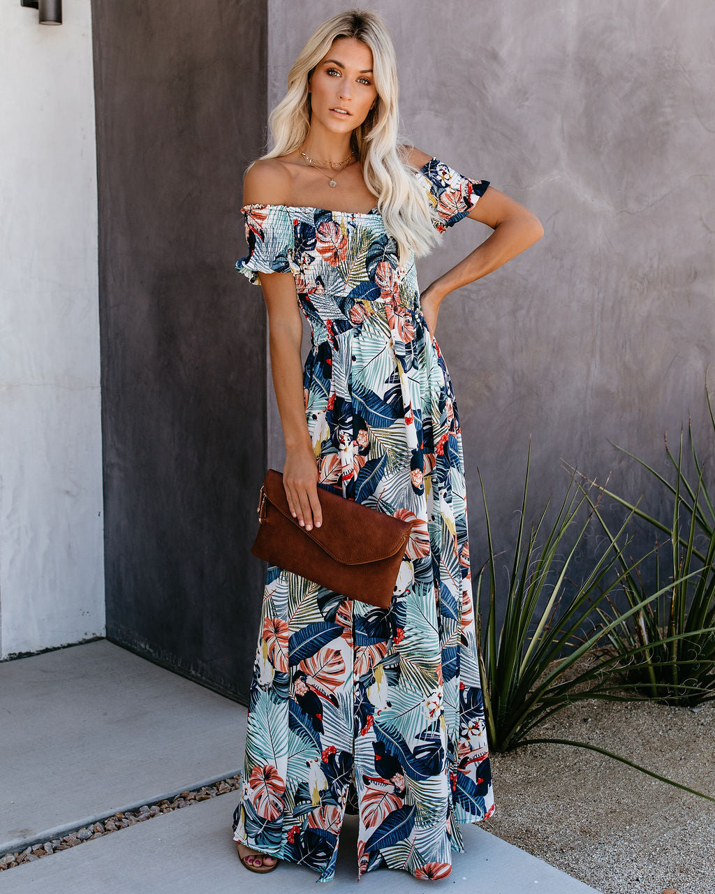 c4b97b025b9f8 Very Vacay Smocked Slit Maxi Dress – VICI
