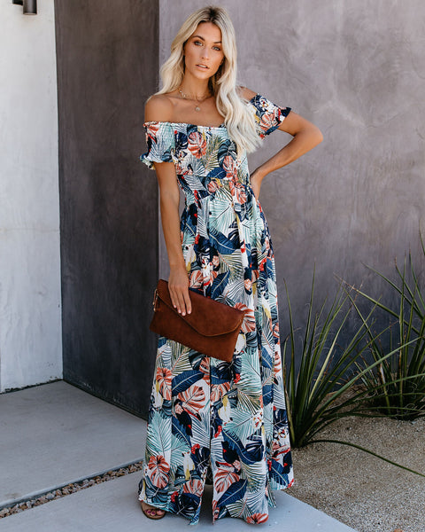 Very Vacay Smocked Slit Maxi Dress