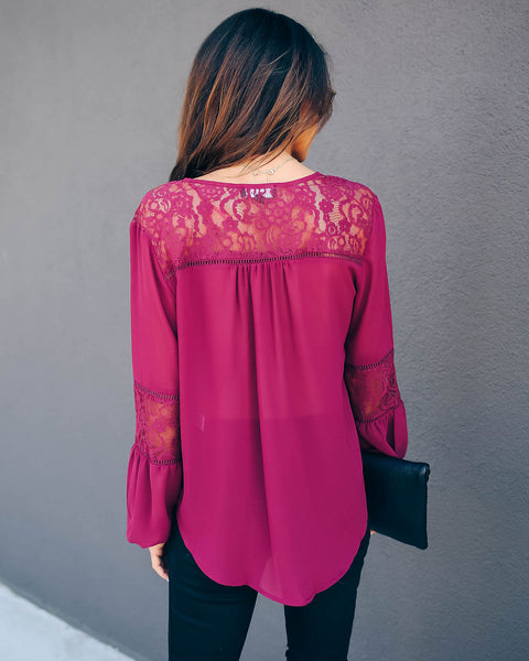 Destinations Button Down Lace Blouse - Burgundy - FINAL SALE