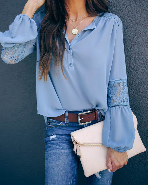 Destinations Button Down Lace Blouse - Blue - FINAL SALE