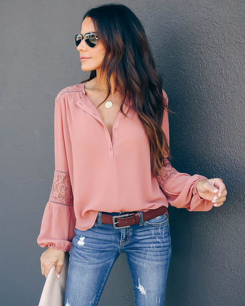 Destinations Button Down Lace Blouse - Salmon