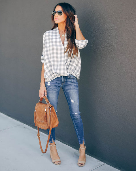 White Plains Plaid Surplice Top - FINAL SALE