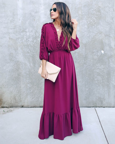 Set The City On Fire Ruffle Maxi Dress - Wine