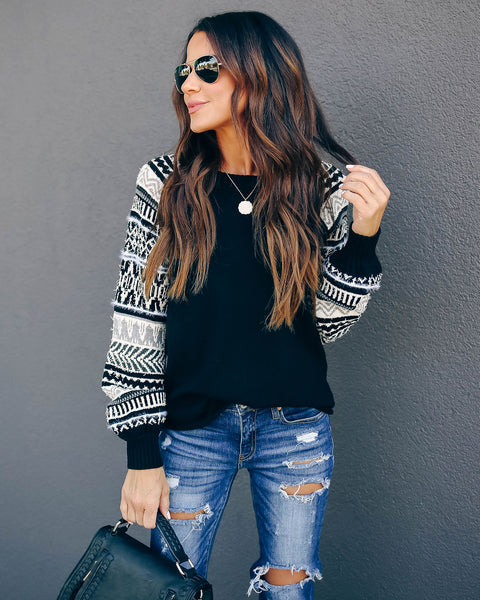 Yaneli Knit Contrast Sweater