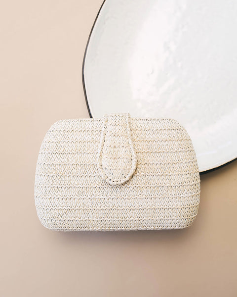 Pursuit Of Happiness Chain Crossbody Woven Clutch - Ivory