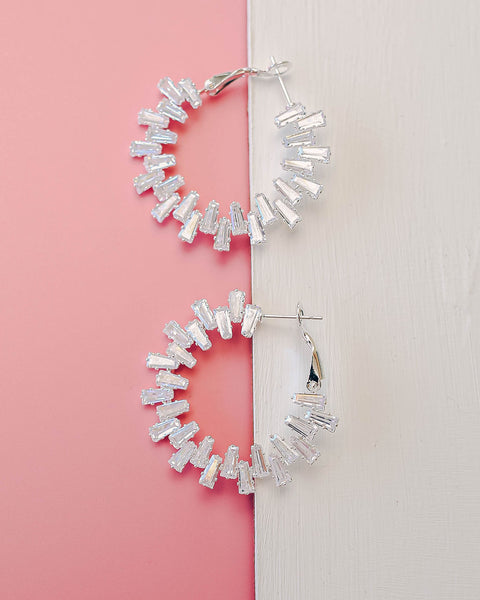 More Bling Diamond Hoops - Silver