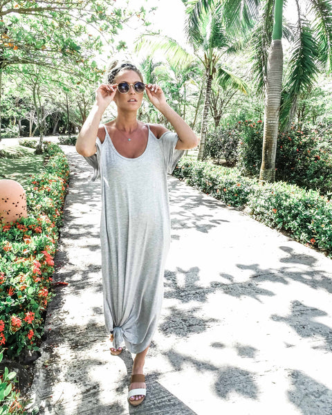 Fly Away Pocketed Maxi Dress - Heather Grey