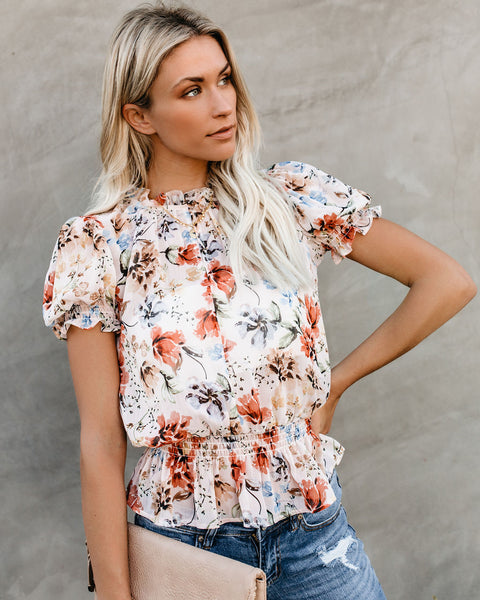 Vienne Floral Frill Blouse