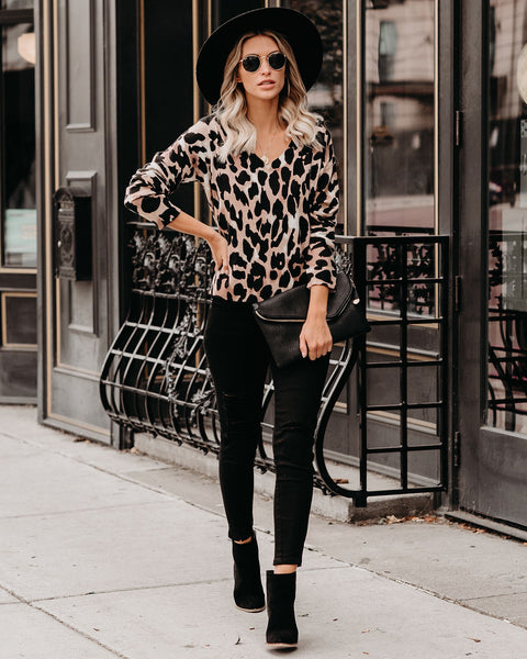 Viewpoint Leopard V-Neck Sweater - FINAL SALE