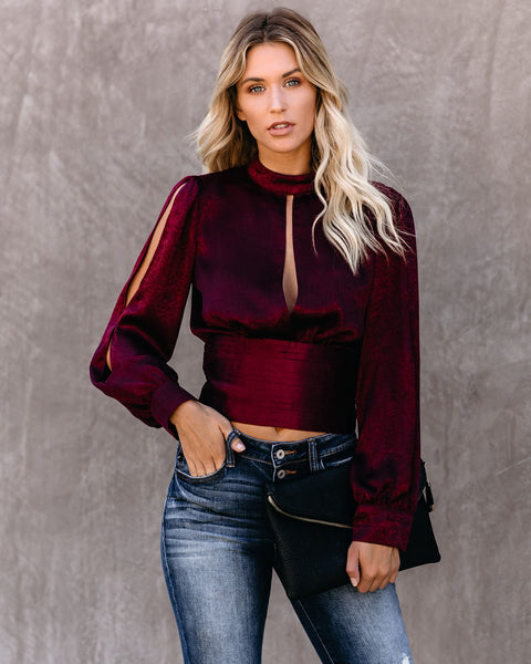 Vino Satin Tie Back Blouse - FINAL SALE