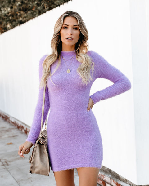 Violaceous Fuzzy Sweater Dress