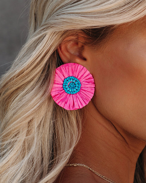 Violet Raffia Statement Earrings - Hot Pink